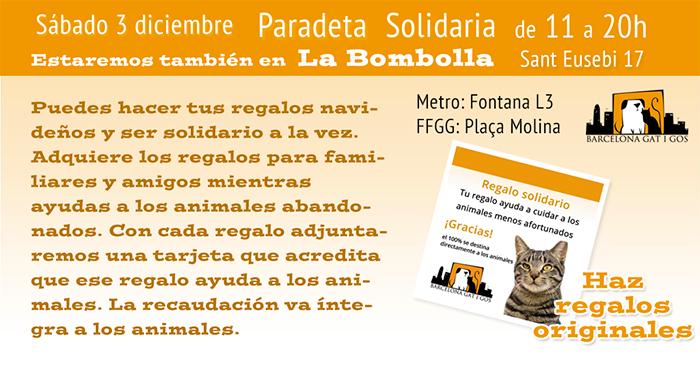 Paradeta solidaria en La Bombolla