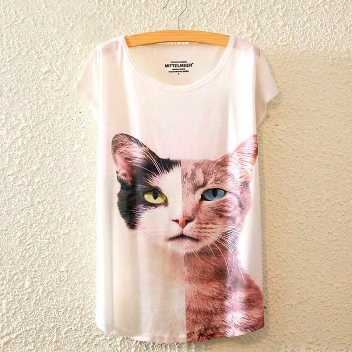 Camiseta gato half & half
