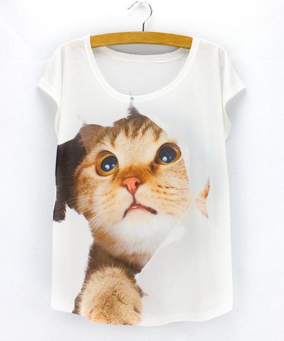 Camiseta gato asomando