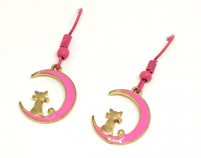Pendientes gato en la luna rosa