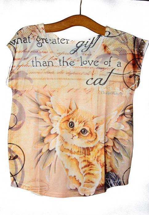 Camiseta gatito ángel