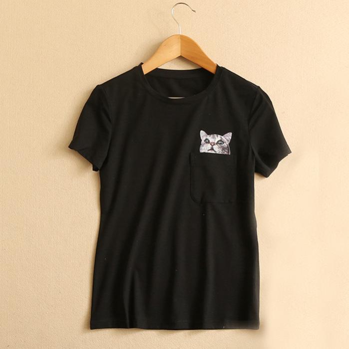 Camiseta bolsillo gatuno 1