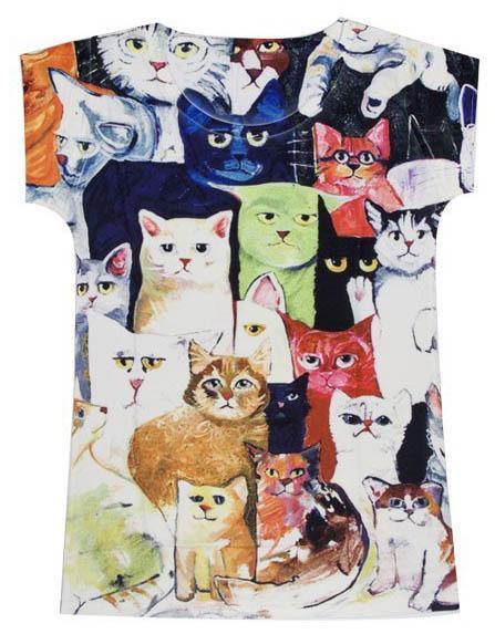 Camiseta dibujos gatos 1