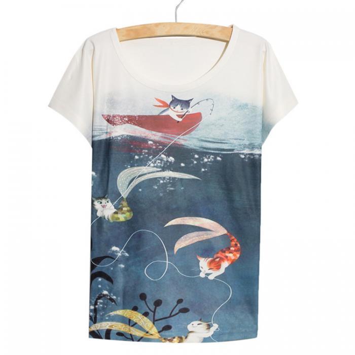 Camiseta sirenas gatunas
