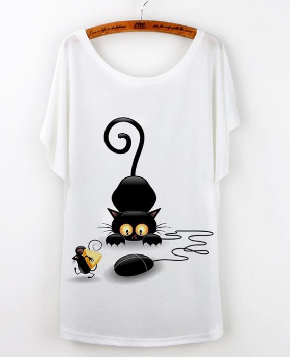 Camiseta dibujo gato negro 1