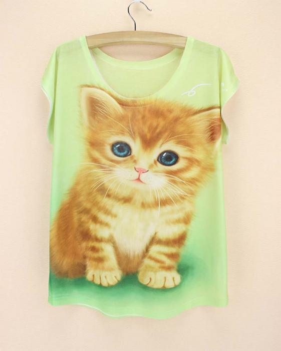 Camiseta gatito rubio