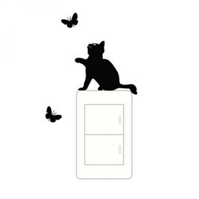 Vinilo decorativo gato y mariposas